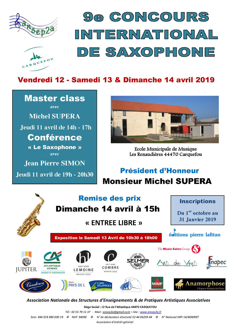 Affiche concours international saxophone